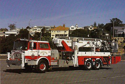 A 1981 Mack Aerialscope with The'New Zealand Fire Service Postcard