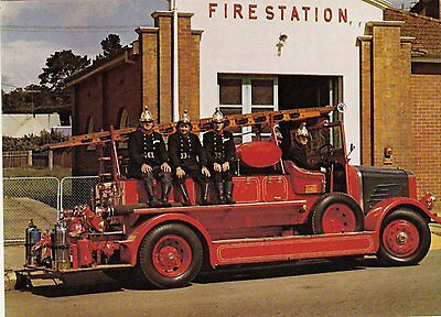 A 1939 Dennis Big 4 pump with The New South Wales Fire Service Postcard