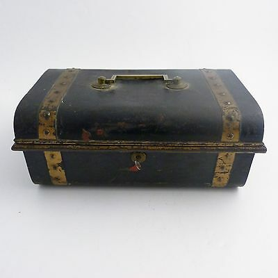 Victorian Banded Metal Strong Box Deed Chest