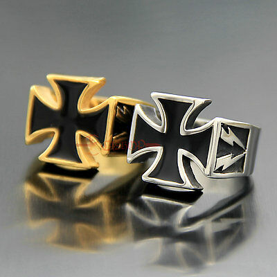 High Quality Stainless Steel German Iron Cross Biker Rocker Ring Knights Templar