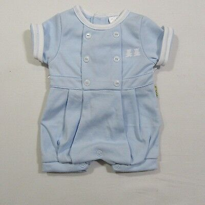 Premature Babies Tiny Baby Clothes Boys Romper Suit  Short Hat Outfit Blue Small