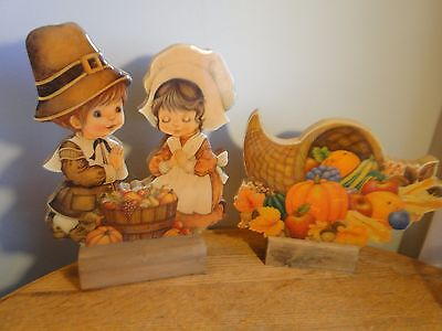 Vintage Wood Decoupage Thanksgiving Decorations Pilgrims Cornucopia