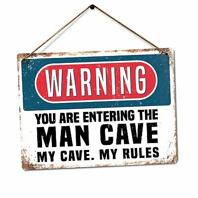 The Man Cave Metal Wall Sign Plaque Art Caution Warning Funny Parody Dad Son