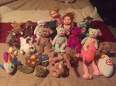 Ty Beanie Babies MWMT Collection - LOT of  20 - RARE COLLECTIBLES!!!!!