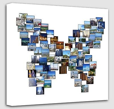 Personalised Butterfly Shape Collage Canvas - photo canvas Print  image prints