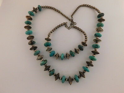Navajo Turquoise Sterling Fluted Hogan Beads Necklace Bracelet Old Pawn Silver