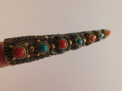 Vintage Gilt Silver Fingernail Brooch Pin Turquoise Chinese Enameled