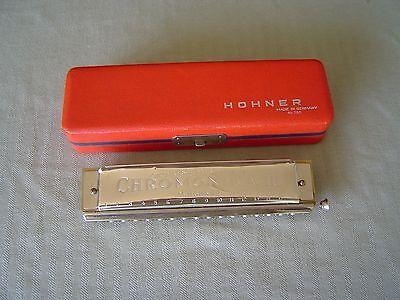 """chromonika Iii"" Chromatische Mundharmonika Model 280/64 ""c"" & Red Storage  Box"