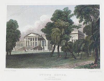 OLD ANTIQUE PRINT STOWE HOUSE BUCKINGHAMSHIRE c1831 ENGRAVING by NEALE / HAY