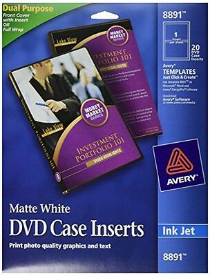Avery DVD Case Inserts, Matte White, 20 Inserts (8891)