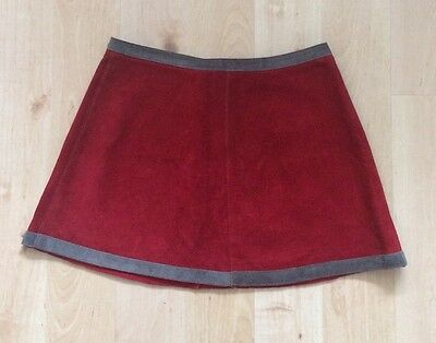 Vintage 70s Red And Grey Suede Skirt Size 8 Mod Hippie