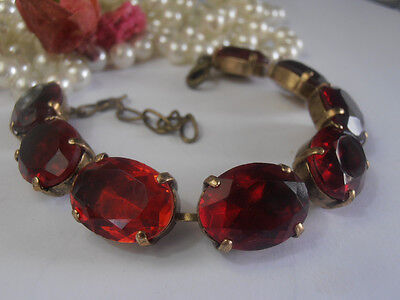 Tennis Cupchain Bracelet 1950's Oval Ruby Crystals Art Deco Bronze Anna Wintour