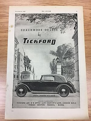 Very Rare 1947 TICKFORD A4 Vintage B&W Car Advert L1