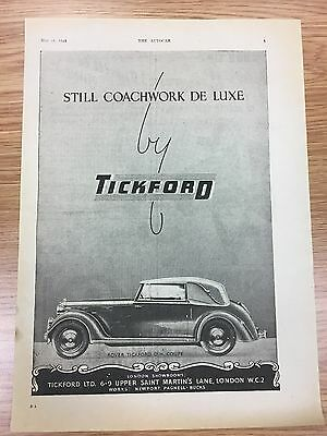 Very Rare 1945 TICKFORD A4 Vintage B&W Car Advert L2
