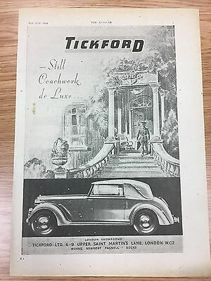Very Rare 1944 TICKFORD A4 Vintage B&W Car Advert L3