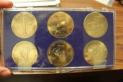 6 Coin Medallion Set Apollo project Gemini & Mercury  Shepard Armstrong Collins