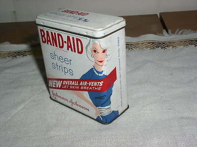 Vintage 60's Lady in Blue Dress Band-Aid Sheer Strips Tin Box