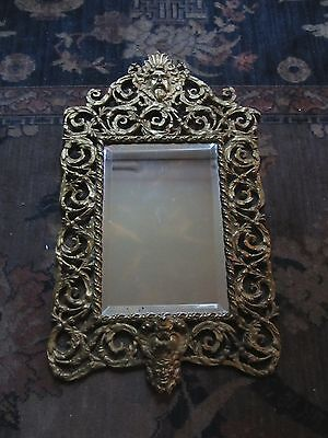 ORNATE ANTIQUE FRENCH MIRROR. BEVELED GLASS . 19th c.  FORGES HAVRAISES