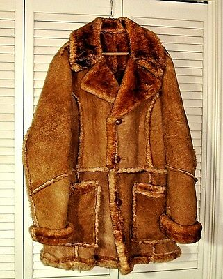 Vintage Leather Shearling Jacket Coat Excelled Ny Size 40 Tan Brown Button Front