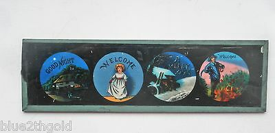 Superb Antique Magic Lantern Show Slide Merry Xmas Goodnight Welcome To Audience