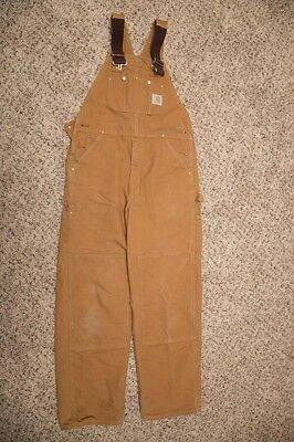 Carhartt Men's Size 34x32 Brown Unlined Bibs