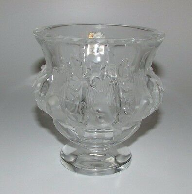 Lalique France 'Dampierre' Frosted & Clear Glass Vase. Birds