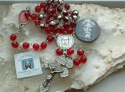 Large fire polished  beads Chaplet Holy Face reparation/ Pardon cross