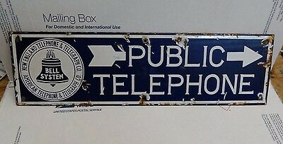 Vintage New England Public Telephone Bell System Double Sided Porcelain Sign