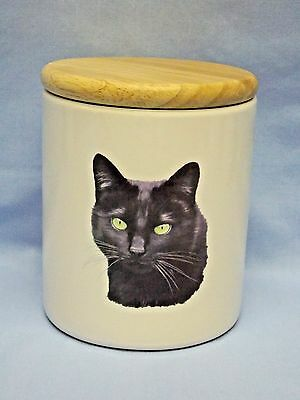 Black Cat Treat or Candy Jar Fired Head Decal Ceramic with Wood Lid 5 1/4 Inch