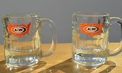 """2 Vintage 70s 8-oz. A&W Root Beer Mugs Heavy Glass United States Logo 4.25"""" Tall"""
