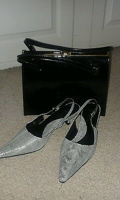Winkle picker mod shoes size 4 with vintage real leather patent handbag