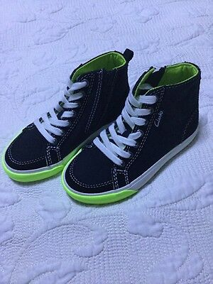 Clarks Boys Black Hi Top Trainers Boots Size 13.5 G