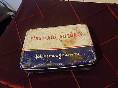 Vintage Johnson and Johnson First Aid Autokit with some content