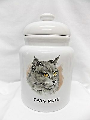 "Grey Longhair Cat Treat or Cookie Jar Fired Head Decal & ""CATS RULE"" 9 In Tall"