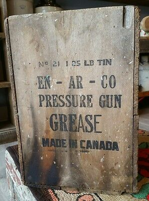 Vintage Motor Oil Tin Can Grease Enarco White Rose Crate Advertising Canada