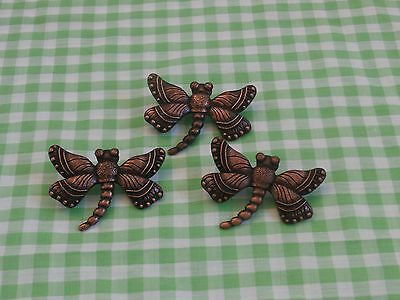 3 pc Dragonfly Candle Pins Tacks - Bronze Color, Home Interiors, New