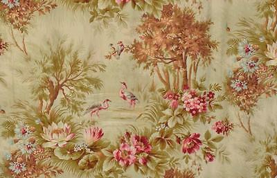 Gorgeous Antique French Printed Cotton Portiere / Curtain Exotic Birds & Florals