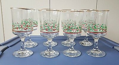 4 Vintage Arby's Christmas Holiday Holly Berry Stem Wine Water Goblets Glasses