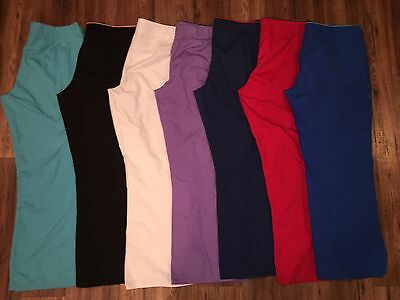 Women's HUGE LOT Scrub Pants! 7 Pairs L Large Bootcut Fit Ties In Front Blue Red