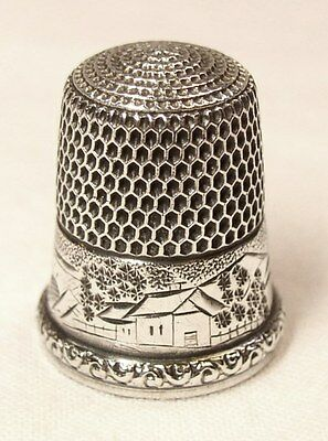 Antique Simons Brothers Sterling Silver Thimble  Farm Valley Scene  Raised Rim