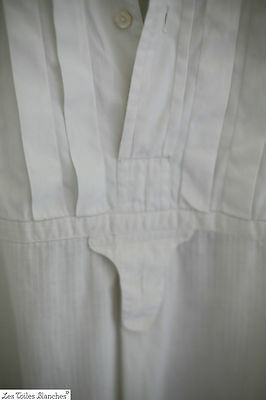 Antique French FINE linen MAN'S SHIRT with PLASTRON mended c 1880