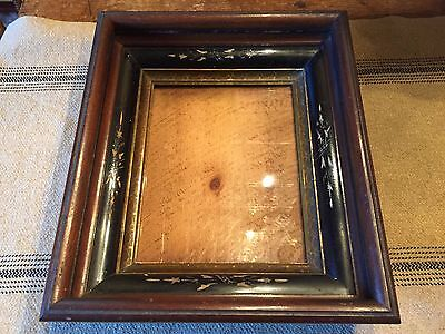 "Antique Deep Walnut Picture Frame 14 3/4"" X 12 3/4"""