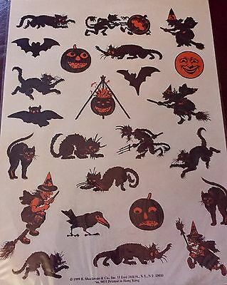 40's 50's style HALLOWEEN STICKER DECAL SET Beistle Unused Old Store Stock