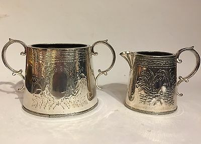 Antique Victorian Epns Silver Plated Sugar Bowl And Milk Jug Set Sheffield