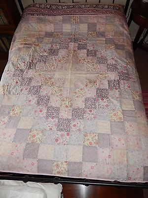 Exquisite Vintage Liberty Tana Lawn Fabric Handmade Pink Patchwork Double Quilt