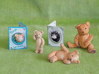 Job Lot 5 Vintage Peter Fagan Colourbox Ornaments 3 Bears 2 Cat Greeting 'Cards'