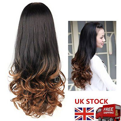 Wig Half Curly Wavy Straight Long Hair brown blonde for Women Cosplay Party UK