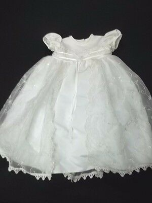 Baby Infant Satin Embroidered Pearl Lace Sequin Christening Baptism Gown Sz 0-3M
