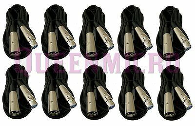 10 Lot x 25ft XLR Pro Audio 3Pin Male Female Microphone Mic Cord Extension Cable
