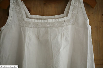 Vintage WOMAN nightgown bodice CAMISOLE cotton c 1900